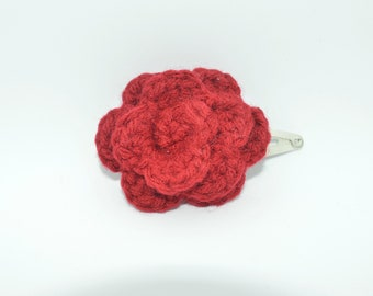 Snap Clip - Crochet Rosette on Silver Snap Clip - Hair Accessory