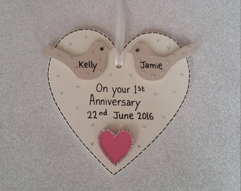 Personalised wedding Anniversary Heart Gift