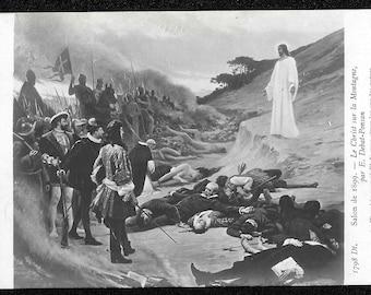 RPPC  Debat Ponsan Christ on the Mountain Vision, Vintage Religious Postcard, Greeting Card, Jesus Christ Antique Photo Postcard /wz