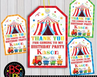Circus Party Favor Tags, Circus Birthday Favor Tags, Circus Thank You Tags