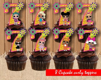Digital Lol surprise doll toppers| Lol dolls birthday party| printable Lol cupcake toppers|  Lol surprise decor| Lol dolls children party