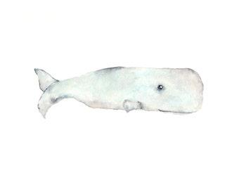 Whale painting, watercolor, whale print, watercolor whale, beach painting, beach decor, sperm whale, beach art, nursery whale art, 10X8