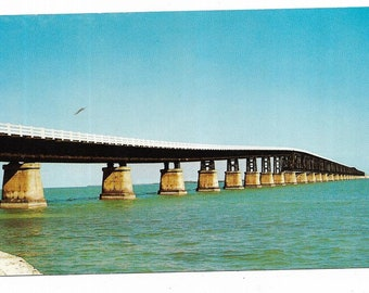 Vintage Florida Chrome Postcard Keys Bahia Honda Bridge on the Overseas Highway to Key West UNUSED