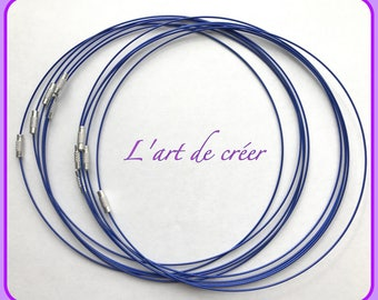 10 round neck cable with steel blue indigo wrapped 1 mm x 45 cm, screw clasp