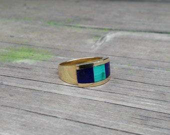 Men's elegant ring combining Malachite, Lapis Lazuli and 18K gold - gift idea - solid gold