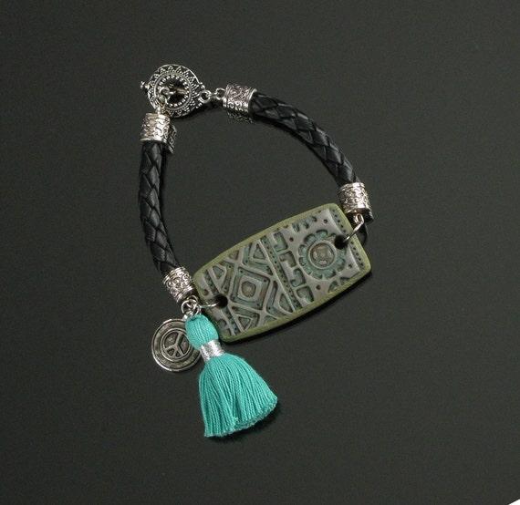 Boho Peace Sign Bracelet, Tassel Bracelet, Leather Bracelet, Polymer Clay Toggle Bracelet, Peace Sign Jewelry, Unique Jewelry Gift for Women