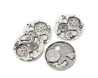 5 gears Steampunk 38mm matte silver charms