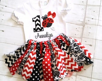 Ladybug Birthday Outfit Embroidered Shirt or Bodysuit +  Fabric Tutu Outfit - Ladybug 1st Birthday Outfit,