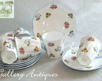 Six Vintage Shelley China Rose Pansy Forget Me Nots pattern Dainty Shape Demitasse Coffee Cups and Saucers c.1940's Design No 13424