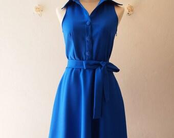 DOWNTOWN - Royal Blue Shirt Dress Blue Dress Color Vintage Modern Dress Bridesmaid Dress Casual Working Dress Summer Sundress