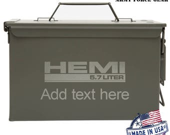 Hemi 5.7 Liter Custom Engraved 30 / 50 Cal Ammo Can Personalized Dad Gift, Cool Guy Gifts Father's Day Gift, Grandpa Gift,Groomsmen