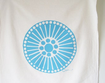 Tea Towel Medallion in Sea Blue