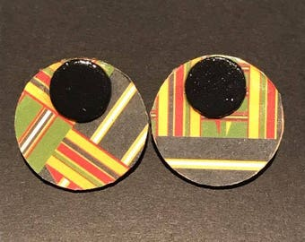 Circle Kente Post Earrings
