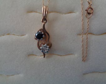 Gold pendant ladies sapphire and diamond