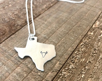 Texas state necklace-texas-Skull necklace-gift
