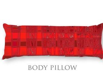 Red & Black Bed Pillow-Fleece Sleeping Pillow-Bed Pillow Cover-Red Body Pillow-Microfiber Pillow Cover-Bed Bolster-Fleece Body Pillow