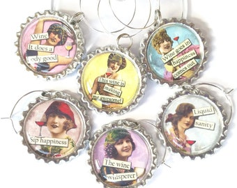 Wine Whisperer Sassy Funny Wine Glass Charms Retro Vintage Sassy Women Wine Charms Girls Night Out Humorous Unique Wine Themed Gift Tags