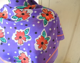 vintage 1980s purple polyester scarf abstract floral flowers washable 30 x 31 inches