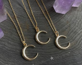 "Crescent Moon necklace on 18"" dainty chain, available in silver or gold finish"