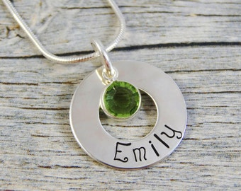 Hand Stamped Jewelry - Personalized Jewelry - Mom Necklace - Sterling Silver Necklace - One Name One Birthstone - Washer