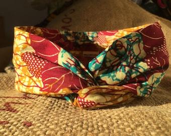 Headband P' little trickster Wax Enugu - pink, mustard, gold, blue