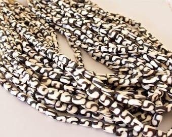 Black and White Swirl Cylinder Batik Bone Beads - B+H 001