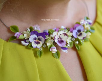 Pansy necklace, Pansy jewellery, Purple wedding jewelry, Flowers jewelry, Purple and yellow flowers, Floral necklace