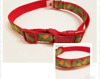 Chili Pepper Dog Collar, Dog Collar, Dog Supplies, Pet Gift, Gift for Dog Lover