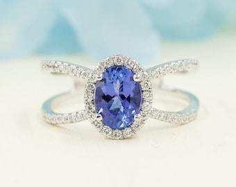 Diamond Engagement Ring. Unique Diamond Ring.8x6mm Natural Oval Tanzanite Engagement Ring.Tanzanite Diamond Ring.Diamond Halo Engagement.