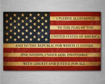 "American Flag ""Pledge of Allegiance"" Decal Sticker Graphic for Car Truck SUV WIndow - 3 Sizes"