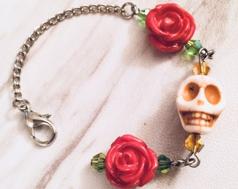 Skull and Roses Planner Charm by Empress Animal - Planner Charm - TN Charms - Rose Skull Clips - Planner Accessories - Skull with Roses
