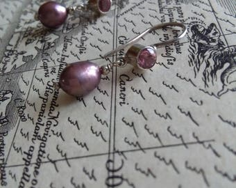 Tourmaline and pearl drop earrings, mauve metallic pearl earrings, handmade artisan sterling silver earrings