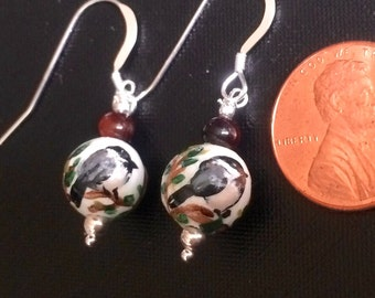 Chickadee Hand Painted Earrings  with Sterling Silver