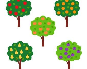 Fruit Trees Clip Art Set, Orange, Peach, pear, Plum, Apple