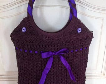 Crocheted in plum and purple cotton bag