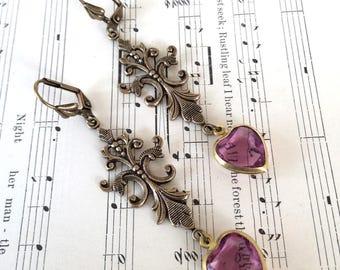 Fleur-de-Lis & Purple Crystal Heart Earrings