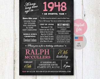 70th Birthday Invitations | Chalkboard invitation for women best great grandmother granny nanny mother | What happened facts 1948 DIGITAL!