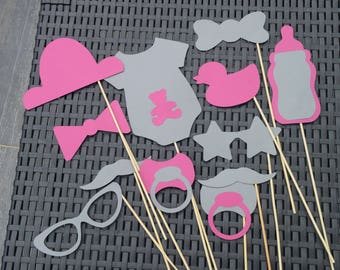 baptism photobooth accessories, baby shower pink and gray colors 12 pieces