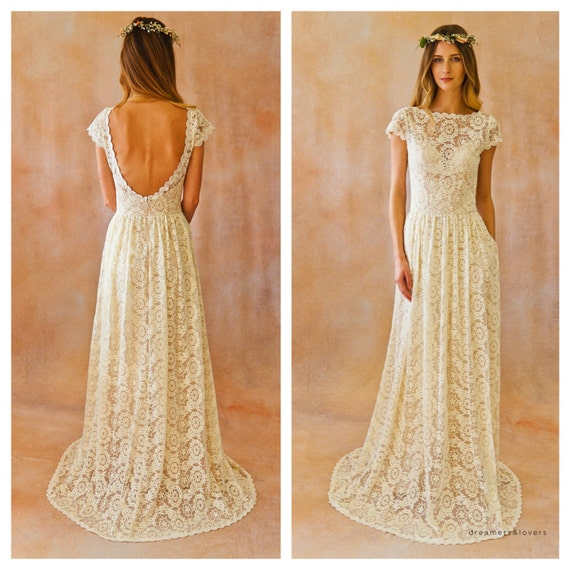 simple off the shoulder ivory wedding gown