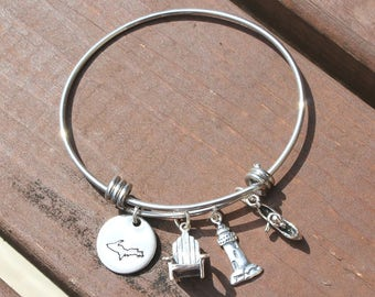 Upper Peninsula Adjustable Bangle - Gifts for her - Lake jewelry - Mother's Day