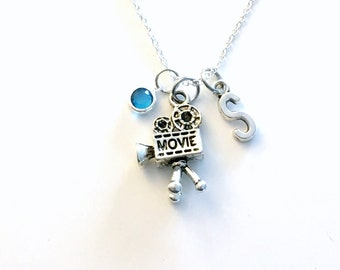 Movie Camera Necklace, Video Film Jewelry, Gift for Theatre Lover, Silver Charm Film Student Videographer Teenager Girl Teenage Daughter son
