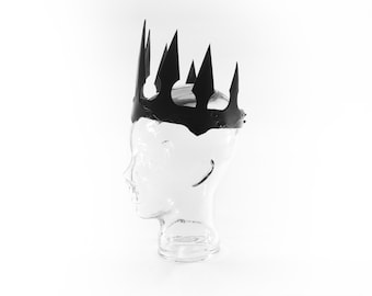 Leather gothic crown, black crown