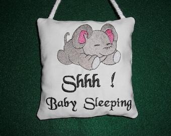 Baby Sleeping Embroidered Door Knob Hanger, Door Hanger, Baby Shower Gift, Fabric Ornament, Door Plaque, Small Hanging Pillow, Baby Gift
