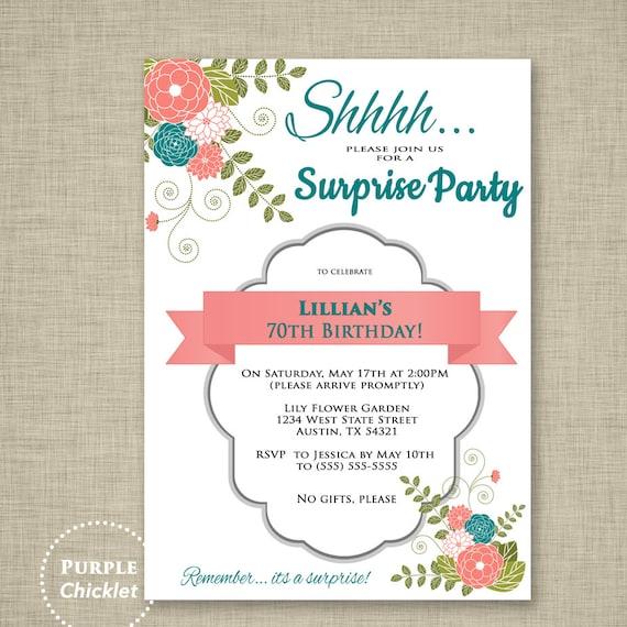 Surprise invitation 70th birthday party invitation coral and stopboris Choice Image