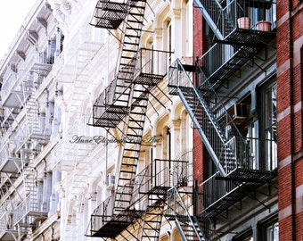 New York Photography, New York Brownstone, Apartment, SOHO, Urban, Kitchen Art, Fire Escape, Brick, Hipster, Dorm Decor, Manhatten, Retro
