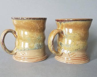 Set of 2 Spiral Twist Coffee Mugs with Honeyed Ginger Speckled Glaze
