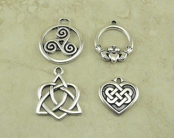 4 TierraCast Celtic Knot Pendant Charms Mix Pack B > Triskele Heart Claddagh Irish - Silver Plated Lead Free Pewter - I ship Internationally