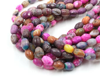 14-15mm Faceted Agate Bicone Beads - 15'' Strand Mix Color Beads