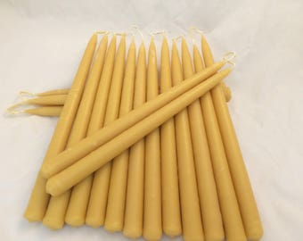 Pure dipped beeswax candle tapers (pair)