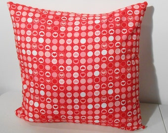 Valentine's Day Pillow cover, red, pink, white, 18 X 18in., 100% cotton, envelope back